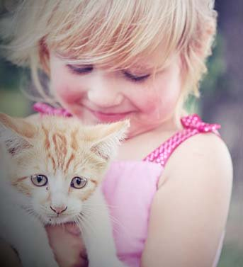 young girl with kitten